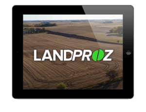 Tablet showing LandProz commercial